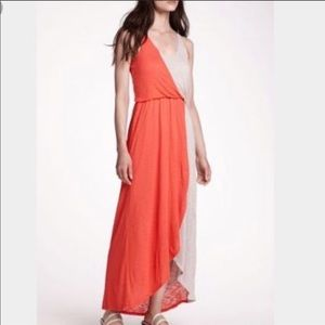 Anthropologie Orange high low maxi dress